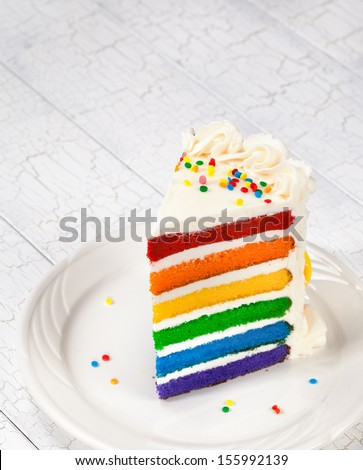 Gourmet Vanilla Rainbow Cake - stock photo