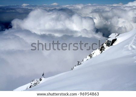 Gouter mountain house on Mont Blanc climbing route, French Alps, France - stock photo