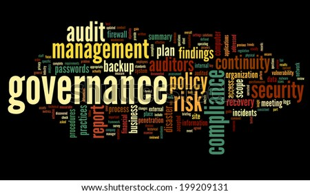 Governance and compliance in word tag cloud on black background - stock photo