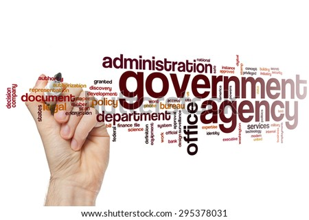 government agency word cloud concept with office administration related tags stock photo. Black Bedroom Furniture Sets. Home Design Ideas