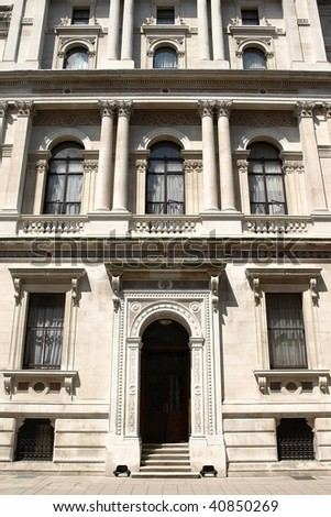 Government and Civil Service Offices in London in the Town Houses of Whitehall - stock photo
