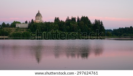 Government Building Capital Lake Olympia Washington Sunset Dusk - stock photo