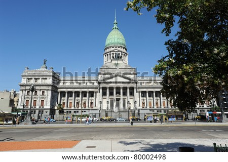 government building on plaza of Congress on Buenos Aires
