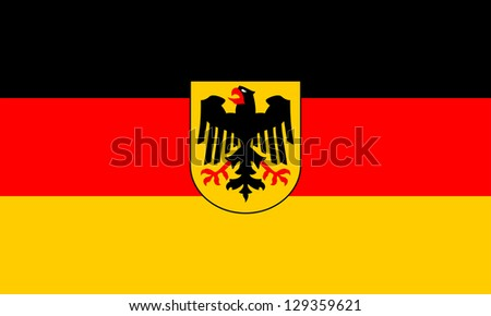 Government flag of Germany. The government flag may only be used by federal government authorities. Proper ratio (3:5) and colors (RGB 0,0,0-255,0,0-255,204,0). Adopted June 7, 1950. - stock photo