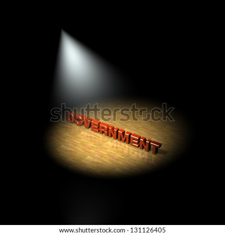 Government focus, spotlight on the government. 3D - stock photo