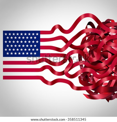 Government red tape concept and American bureaucracy symbol as an icon of the flag of the United States with the red stripes getting tangled in confusion as a metaphor for political inefficiency. - stock photo