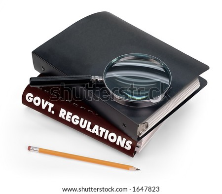 government regulations, magnifier, pencil - stock photo