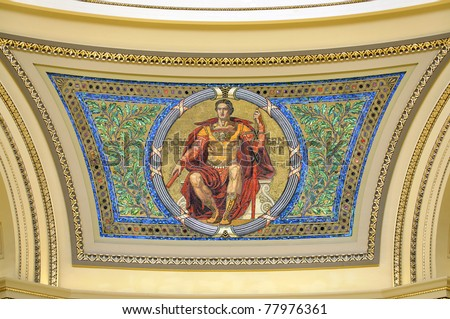 Government tile mosaic on northwest side of dome in Madison state capitol of Wisconsin - stock photo