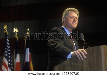 Governor Bill Clinton addresses Denver campaign rally in 1992 on Bill Clinton's final day of campaigning in Denver, Colorado