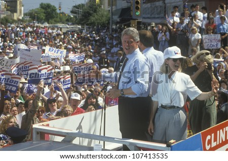 Governor Bill Clinton and Hillary Clinton during the Clinton/Gore 1992 Buscapade campaign tour in Corsicana, Texas