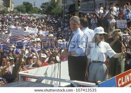 Governor Bill Clinton and Hillary Clinton during the Clinton/Gore 1992 Buscapade campaign tour in Corsicana, Texas - stock photo