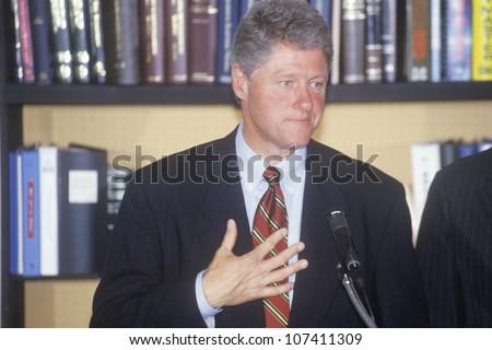 Governor Bill Clinton and Senator Al Gore hold a press conference on the buscapade campaign tour of 1992 in Waco, Texas - stock photo