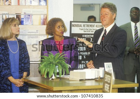 Governor Bill Clinton and wife Hillary attend a job training class at the Maxine Waters Employment Preparation Center in 1992 in So. Central, LA - stock photo