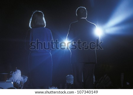 Governor Bill Clinton and wife Hillary Clinton at a Texas campaign rally in 1992 on his final day of campaigning in McAllen, Texas - stock photo