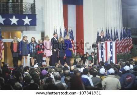 Governor Bill Clinton gives victory speech at the Governors Mansion, 1992 in Little Rock, Arkansas - stock photo