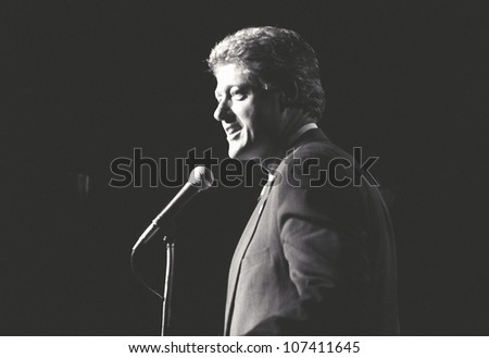 Governor Bill Clinton speaks at a New York rally during the Clinton/Gore campaign of 1992 - stock photo