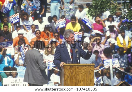 Governor Bill Clinton speaks at the Maxine Waters Employment Preparation Center in 1992 in So. Central, LA
