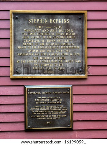 Governor Stephen Hopkins House Historic Marker - stock photo