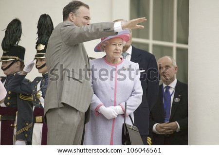 Governor Timothy M. Kaine and Her Majesty Queen Elizabeth II waving, Richmond Virginia, as part of the 400th anniversary of the Jamestown Settlement, May 3, 2007