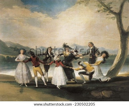 "GOYA Y LUCIENTES, Francisco de (1746-1828), Blind Man's Buff, 1788-1789, Game also known as ""cucharon"", Painted for the Infantes' Bedroom at El Pardo, there are two versions of this work - stock photo"