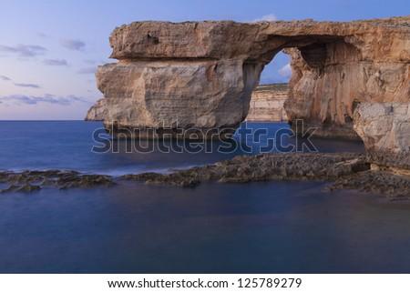 Gozo Azure Window Long Exposure - stock photo
