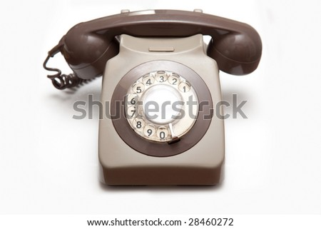 GPO style telephone isolated on a white studio background