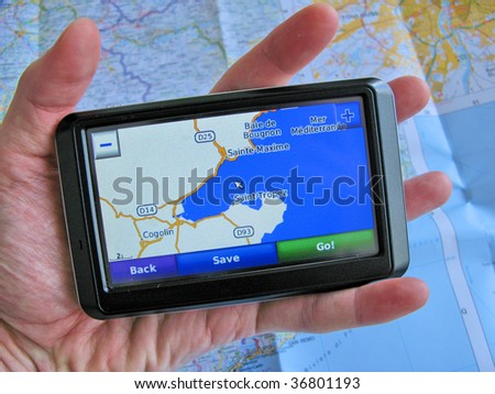 GPS against a map - stock photo