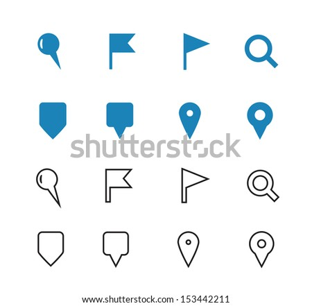 GPS and Navigation icons on white background. See also vector version. - stock photo