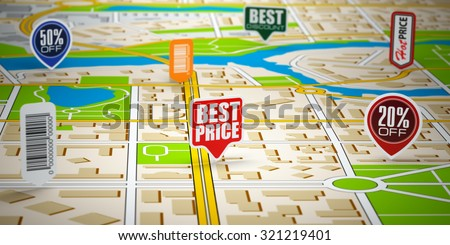 GPS city map with price labels. Concept of sale and shopping. 3d - stock photo
