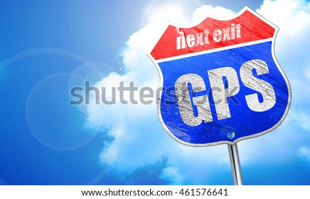 gps, 3D rendering, blue street sign