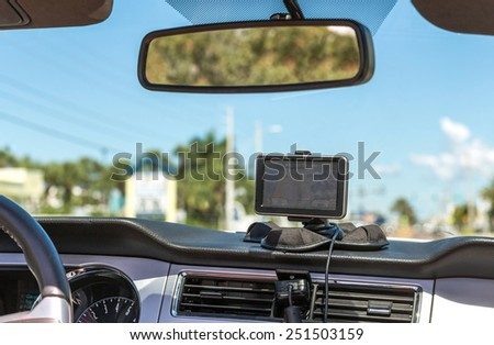GPS device in a car, satellite navigation system - stock photo