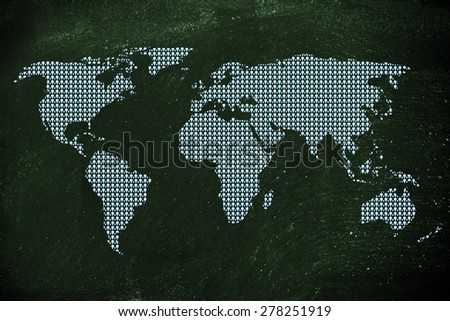 Gps geolocalisation pins creating the map of the world - stock photo