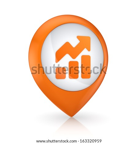 GPS icon with symbol of graph.Isolated on white.