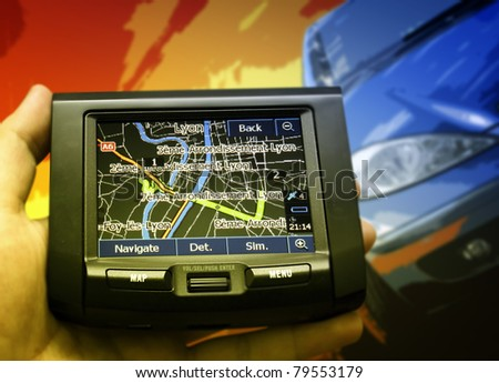 Gps in a man hand. - stock photo