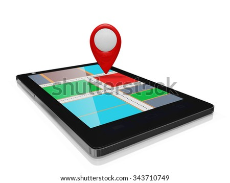 GPS Map Marker on a Smart phone Mobile - stock photo