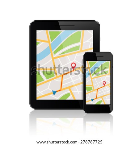 GPS map on smartphone and tablet pc