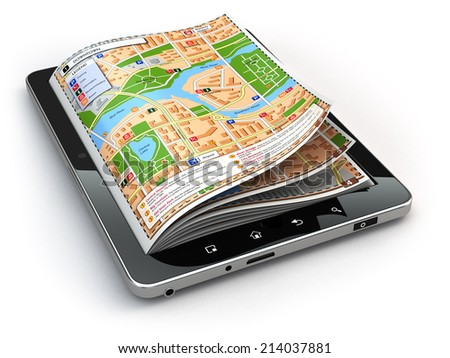 GPS navigation concept. Guide map on the tablet pc screen. 3d - stock photo