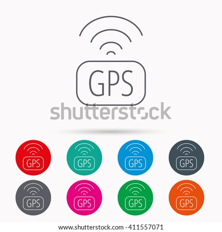 GPS navigation icon. Map positioning sign. Wireless signal symbol. Linear icons in circles on white background. - stock photo