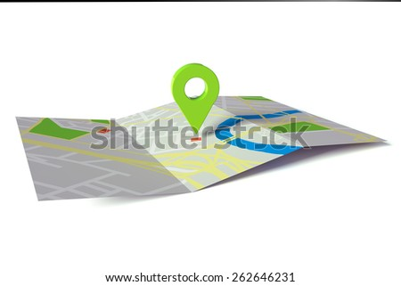GPS navigation on city road map on paper (3D Rendering) - stock photo