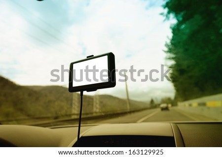 GPS navigation system with empty screen on a car front window