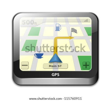 GPS navigator icon - stock photo