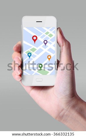 GPS navigator icon on smartphone. The Global Positioning System is a satellite-based system that can be used to locate positions anywhere on the earth. - stock photo