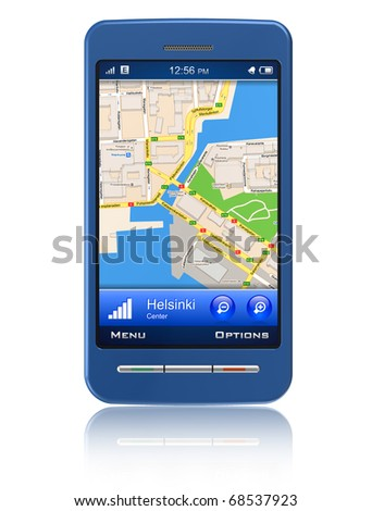 GPS navigator in touchscreen smartphone - stock photo