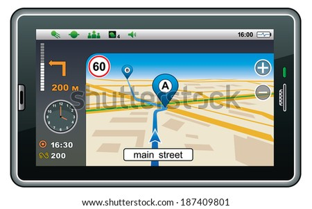 GPS navigator. Raster illustration.