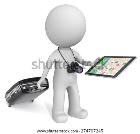 GPS Pad. The dude 3D character with camera holding suitcase, tablet computer GPS. - stock photo