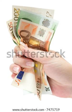 Grabbing Euro Banknotes - stock photo