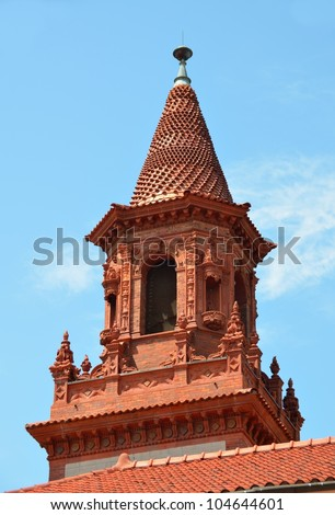 Grace United Methodist Church Steeple at historic St. Augustine, Florida. - stock photo