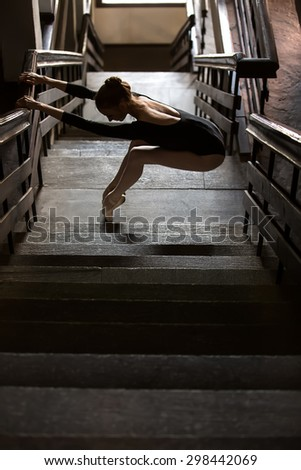 Graceful ballerina standing in a graceful pose - stock photo