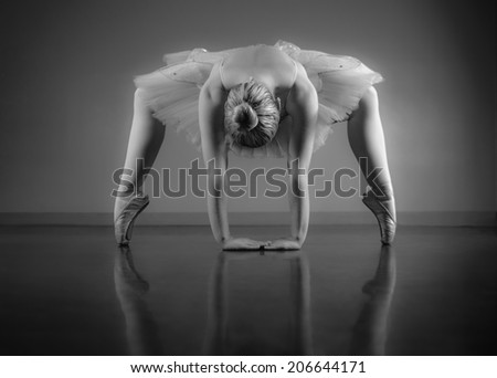 Graceful ballerina warming up in black and white in the ballet studio - stock photo