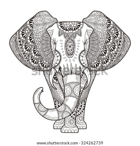 graceful elephant coloring page in exquisite style - Coloring Pages Indian Elephants